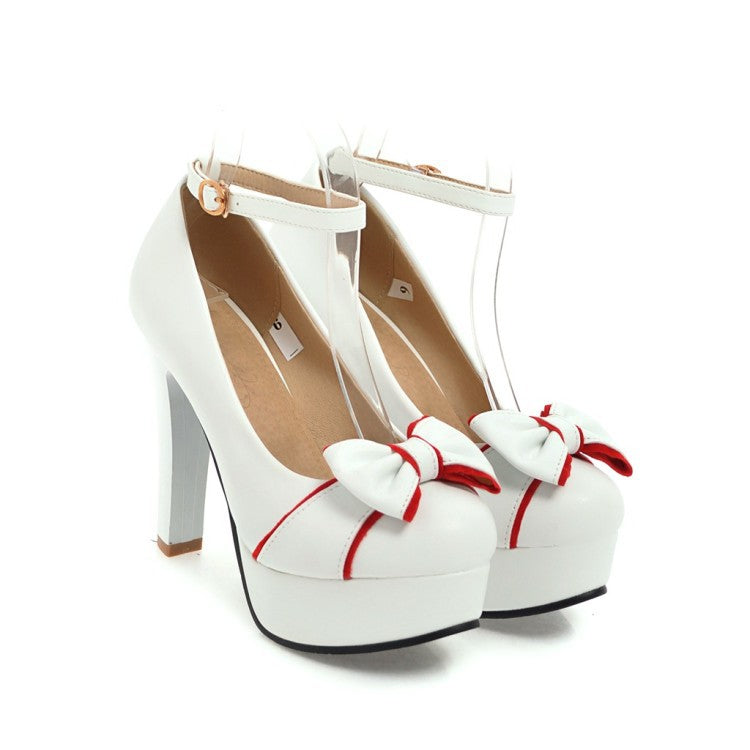 Sweet Bow Super High Heel Buckle Platform Pumps