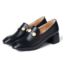 Load image into Gallery viewer, Square Head Rough Heel Shallow-mouthed Student Single Shoe Women Chunky Pumps
