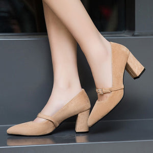 Pointed Toe High Heel Block Heel Pumps