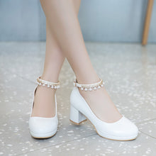 Load image into Gallery viewer, Shallow Mouth Beaded Buckle High Heel Round Head Chunky Heel Pumps