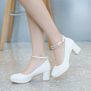 Shallow Mouth Beaded Buckle High Heel Round Head Chunky Heel Pumps
