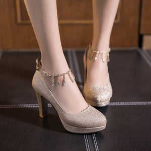 Rhinestone High Heels Thick-heeled Women's Round Head Platform Pumps Wedding Shoes