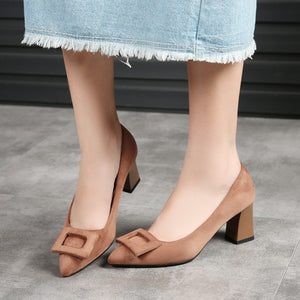 Women's Pumps Pointed High Heel Square Buckle
