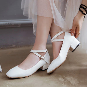 Leisure Cross-buckle Middle Heels Round Head Women Pumps