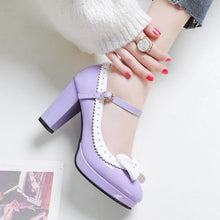 Load image into Gallery viewer, Women's Chunky Heel Pumps Round Head Buckle