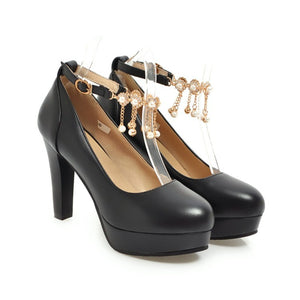 Buckle Belt Platform Pumps Ankle Strap High Heels