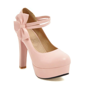 Sweet Bow Chunky High Heel Size Women Pumps Princess Shoes
