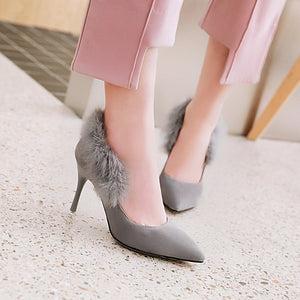 Pointed Toe High Heel Thin Heel Shallow Mouth Sexy Suede Women Pumps