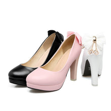 Load image into Gallery viewer, Sweet Butterfly Knot Super High Heel Round Head Platform Pumps