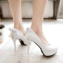 Load image into Gallery viewer, Super High Heel Sweet Bow Platform Pumps