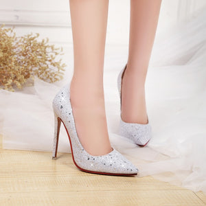 Sexy Super High Heel Sequins Women Pumps Wedding Shoes