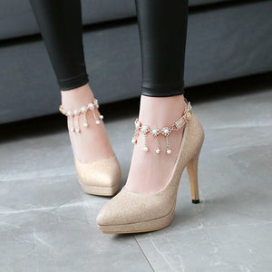 Pointed Toe Sexy Ultra-high Heel Buckle Ankle Strap Women Platform Pumps