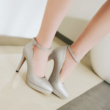 Load image into Gallery viewer, Stiletto Heel Ankle Strap Women Platform Pumps