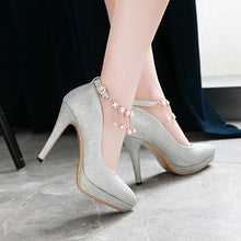 Load image into Gallery viewer, Pointed Toe Sexy Ultra-high Heel Buckle Ankle Strap Women Platform Pumps