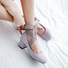 Load image into Gallery viewer, Straps Medium-heel Rough-heel Shallow Toe Women Chunky Heels Pumps
