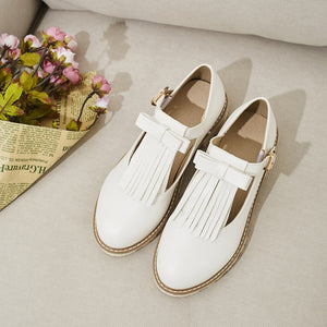 Academic Style Leisure Tassel Princess Chunky Heels Shoes