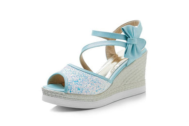 Women's Sweet Bow Fish Mouth Sequin Platform Wedge Sandals