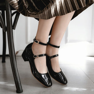 Square Middle Heel Large Sizebuckle Women Pumps