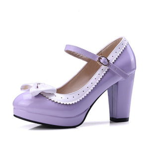 Women's Chunky Heel Pumps Round Head Buckle