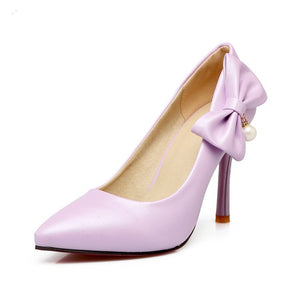 Sexy Bow Tie High Heel Pointed Toe Women Pumps
