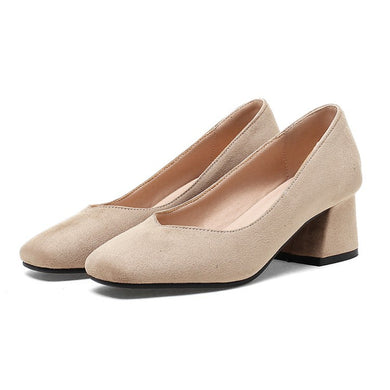Square Head Suede Large Size Casual Women's Chunky Heels Pumps