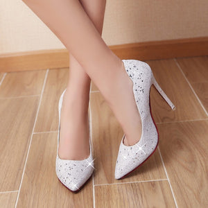 Sexy Super High Heel Sequins Stiletto Wedding Shoes