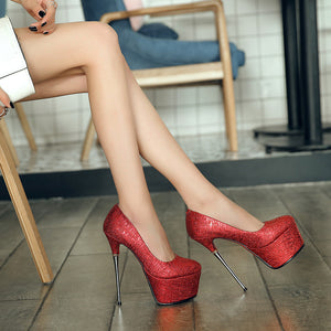 Shallow Mouth Super High Heel Sexy Nightclub Round Head Wedding Shoes