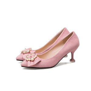 Pointed Toe Kitten Heel Bow Women Pumps