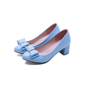 Spring Autumn Sweet Bow Knot Thick Heel Shallow Mouth Princess Women Chunky Heels Pumps