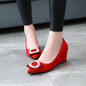 Pointed Toe Pumps Rhinestone Wedge Middle Heel Women Shoes