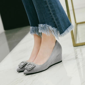 Pointed Toe Pumps Rhinestone Wedges Middle Heel Women Shoes