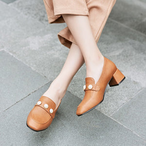 Square Head Rough Heel Shallow-mouthed Student Single Shoe Women Chunky Pumps