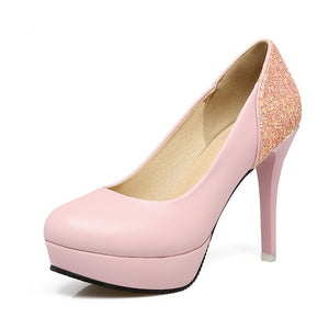 Stiletto Heel Super High Heel Shallow Mouth Sequin Platform Pumps