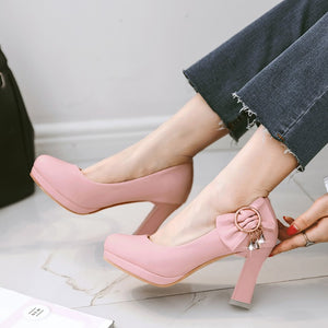 Women's Pumps High-heeled Round Head with Bow