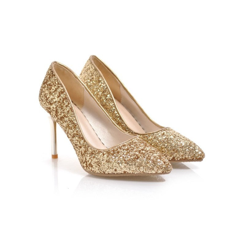 Sexy High Heel Color Matching Sequins Stiletto Pumps Wedding Shoes