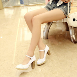 Sweet Fastener Thick Heel High Heel Pumps
