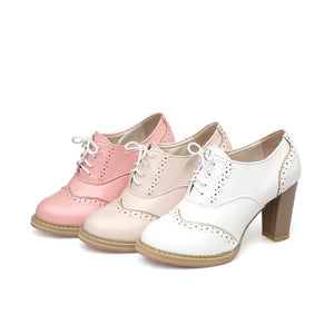 Round Toe Lace Up High Heels Oxford Shoes