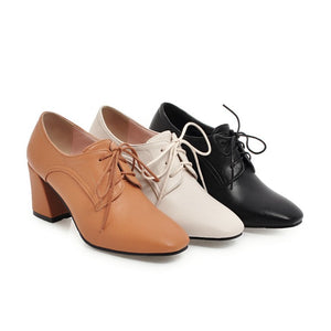 Lace Up Chunky Heels Oxford Shoes