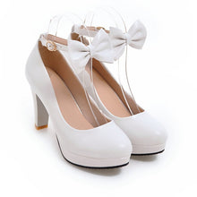 Load image into Gallery viewer, Shallow Mouth Platform Pumps High Heel with Butterfly Knot