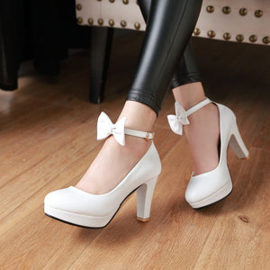 Shallow Mouth Platform Pumps High Heel with Butterfly Knot