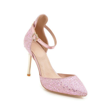 Women's High Heel Pointed Toe Sequined Stiletto Heel Sandals