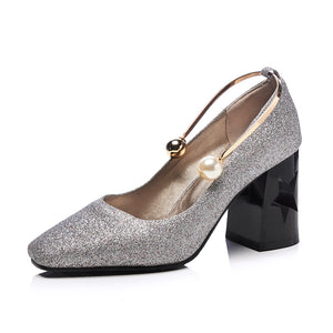 Pearl Buckle High Heel Pumps with Sequins