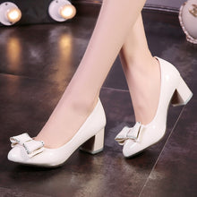 Load image into Gallery viewer, Spring Autumn Sweet Bow Knot Thick Heel Shallow Mouth Princess Women Chunky Heels Pumps