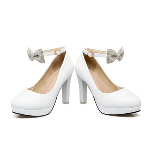 Sweet Bow Shallow Mouth High Heel Platform Round Head Pumps