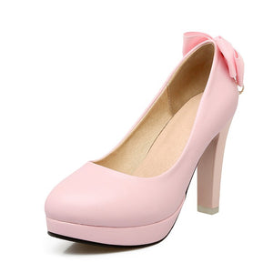 Sweet Butterfly Knot Super High Heel Round Head Platform Pumps