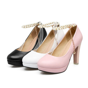 Pearl Chains Platform Chunky Heels Pumps