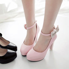 Load image into Gallery viewer, Sweet Bow Shallow Mouth High Heel Platform Round Head Pumps