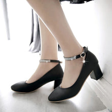 Load image into Gallery viewer, Spring Autumn Ankle Strap Thick Heel Buckle Women Chunky Heels Pumps