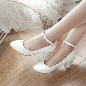Spring Autumn Ankle Strap Thick Heel Buckle Women Chunky Heels Pumps