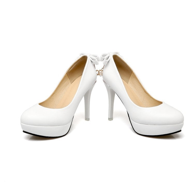 Super High Heel Sweet Bow Platform Pumps